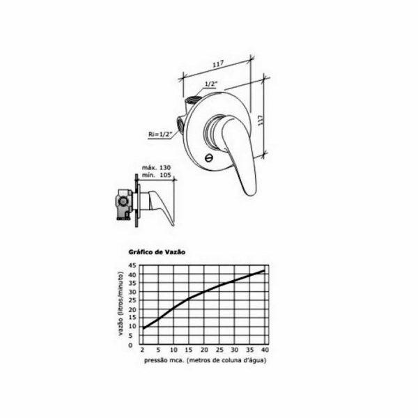 Desenho esquemático misturador - gráfico de vazão